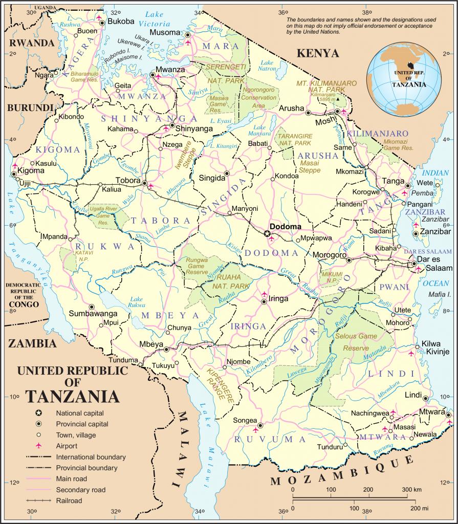 Karta över Tanzania