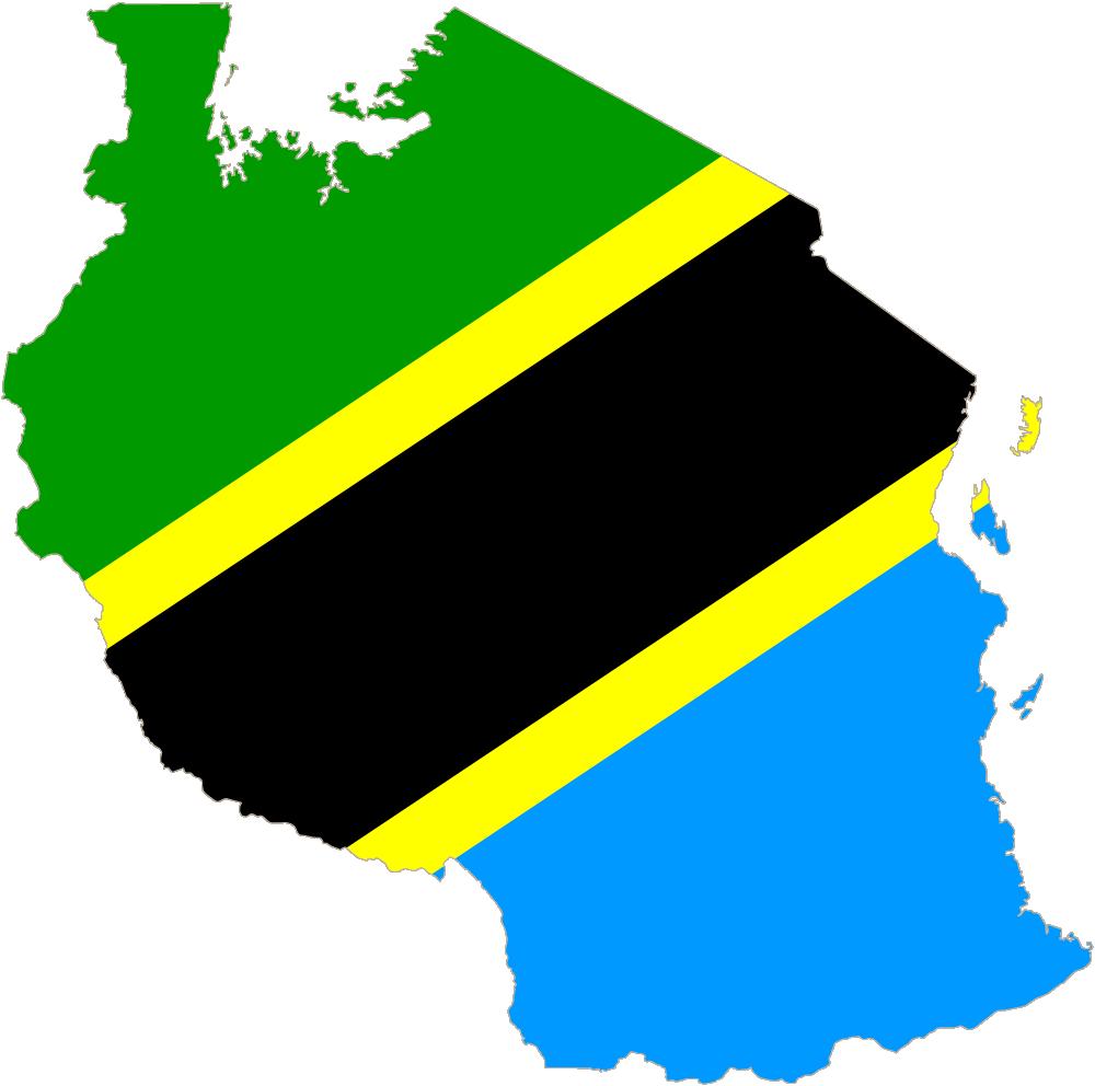 Karta över Tanzania och den tanzaniska flaggan. Ett land som gjort för safari.